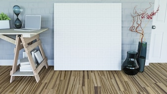 3d render de un lienzo en blanco apoyándose contra una pared en un interior de habitación