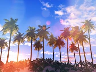 3d render de un paisaje de palmeras