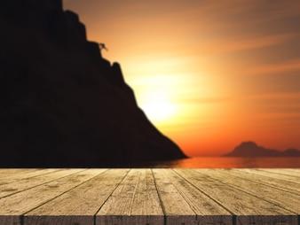 3d render de una mesa de madera mirando a un escalador de roca escalando una gran montaña