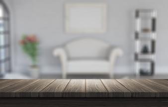 3d render de una mesa de madera mirando a un interior borroso de habitación