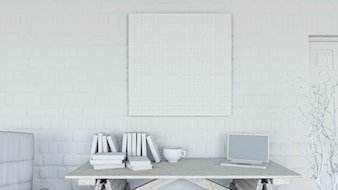 3d render de una oficina con lienzo en blanco en una pared de ladrillo