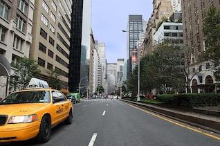 taxi, coche de calle casa cielo rascacielos camino carretera