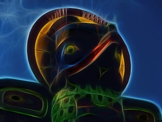 nativo tótem místico arte fractal digital,