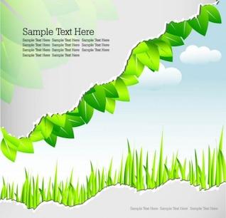 volume ángulo con hojas verdes de vectores