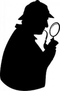 detective de consultoría con la pipa y lupa [silueta]