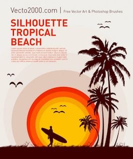 silueta playa tropical