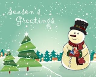 Muñeco de nieve con el árbol de navidad tarjeta de felicitación temporadas