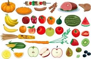 ilustraciones verduras de valores y vectores de frutas