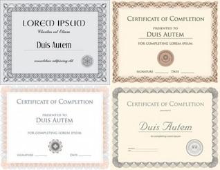 conjunto de certificados de vectores con la muestra y plantillas de texto se indica