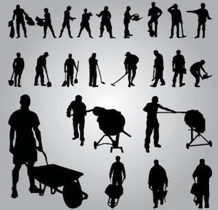 siluetas de los trabajadores. vector