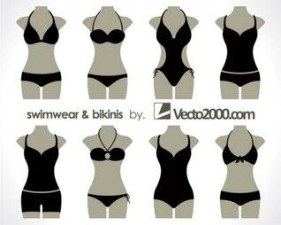 ilustraciones de trajes de baño y bikinis