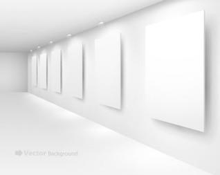 en blanco interiores tableros de la exposición en una pared