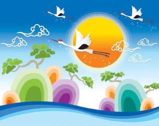 vector de aves que vuelan paisaje