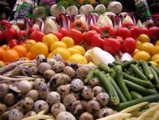 verduras frescas, frijoles