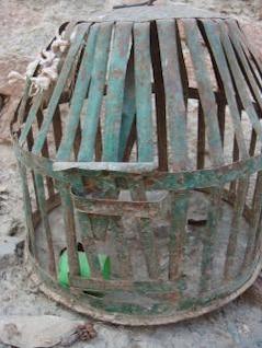 oxidadas jaulas de aves