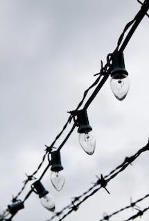 alambre de púas y luces eléctricas