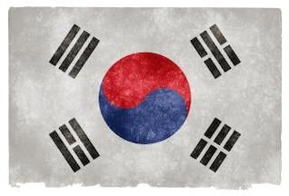 Corea del Sur grunge bandera azul