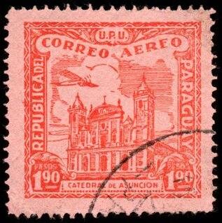rojo asuncion catedral sello de correo aéreo