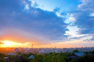 ciudad puesta de sol