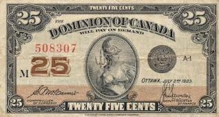 vendimia billete de Dominio de Canadá usado