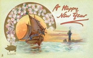 feliz año nuevo circa tarjeta