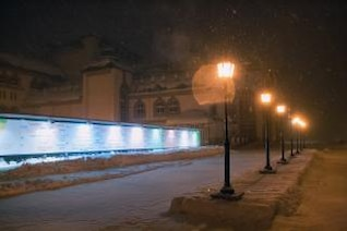 noche edificio escena