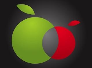 Manzanas Doble comer fruta vector