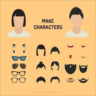 personajes de cómic Ojos y bocas de vectores