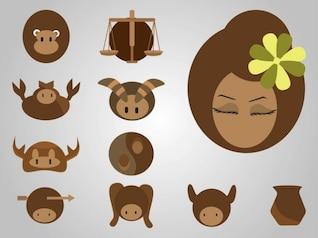 iconos de dibujos animados de un personajes de la astrología