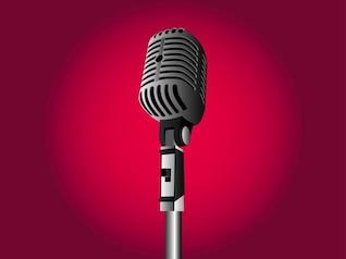 Ilustración realista del micrófono de la vendimia