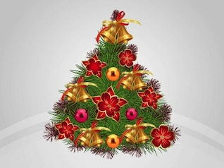 Brillante árbol de Navidad con adornos