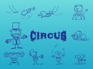 divertido Circo acróbatas artistas vector