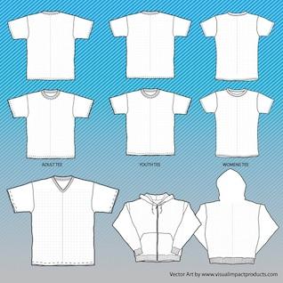 camisetas maqueta de plantillas con la red