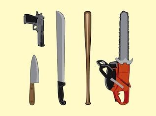 violencia paquete de armas de defensa vector