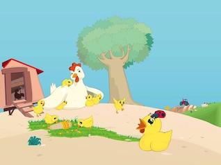 Gallina con pollitos paisaje de dibujos animados