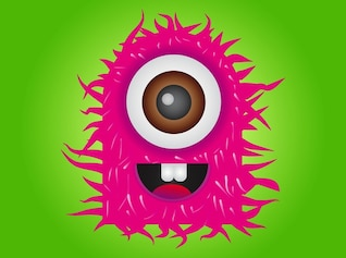Monstruo rosado de un ojo