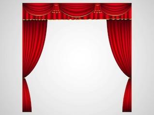 cortinas del escenario en rojo