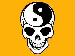dualidad Yin yang esqueleto vector