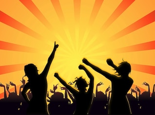 Club Party gente celebración siluetas