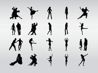 pareja bailando siluetas vector del club