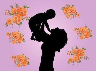 La madre y el niño vector floral gráficos