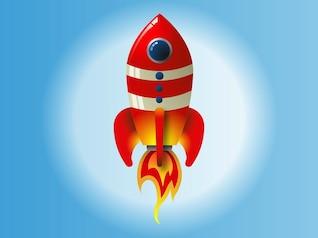 Cohete de la historieta en el cielo