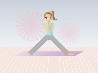 Mujer de la historieta que hace yoga