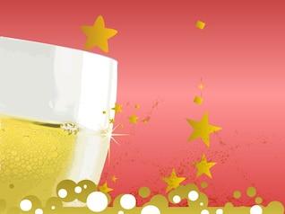 Champagne paquete de vectores vidrio alcohólica