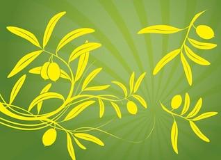 Siluetas amarillas de ramas de olivo