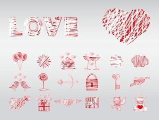 Elementos de diseño vectorial Amor
