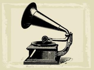 Antiguo gramófono ilustración de la vendimia