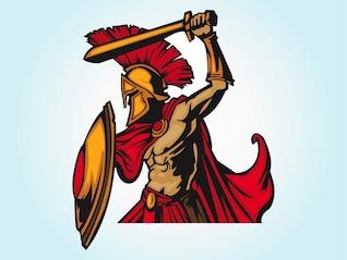 Rey espartano Leonidas guerrero vector