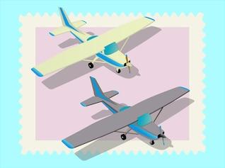 Aviones de aire gemelas vuelan vector