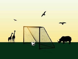 Fútbol en el campo de los animales de África